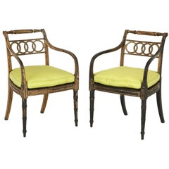 Pair of English Regency Painted and Parcel-Gilt Side Chairs