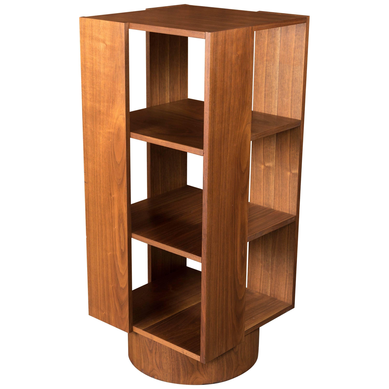midcentury danish walnut revolving bookshelf fits records too