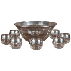 Mid Century Dorothy Thorpe Punch Bowl and Eight Roly Poly Glasses
