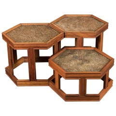 Three Midcentury Hex Walnut & Copper Side Tables by John Real for Brown Saltman