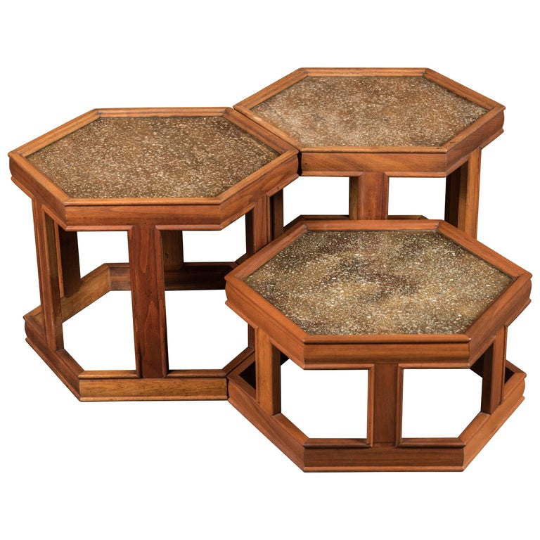 Three Mid Century Hex Walnut & Copper Side Tables by John Keal for Brown Saltman