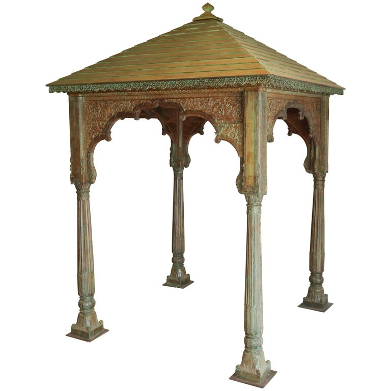 Decorative Solid Teak Wood Late 19th Century Gazebo from a Hindu Temple