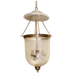 Mouth Blown Crystal Glass Hand Etched Bell Jar Lantern with Smoke Deflector