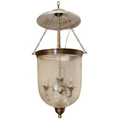 Mouth Blown Hand Etched Crystal Glass Bell Jar Lantern with Smoke Deflector