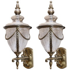 Pair of Hand-Cut Crystal Glass Wall Sconces with Cast Brass Trims