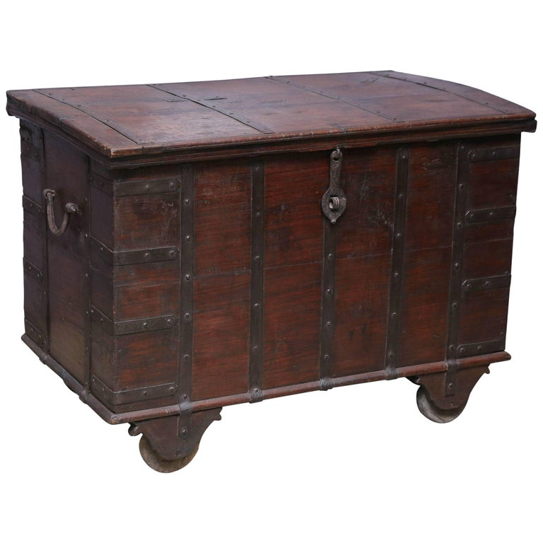 200 Years Old Solid Teak Wood Dowry Chest from a Central Indian Home