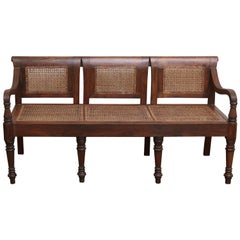 1920s Solid Teakwood and Cane British Colonial Bench from a Tea Plantation