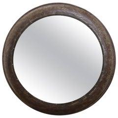 Vintage Round Iron Mirror from a Rundown Castle