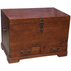 Late 19th Century Solid Teakwood Box with Inside Trays