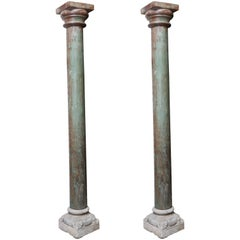 Pair of Early 19th Century Solid Teak Wood Load Bearing Columns