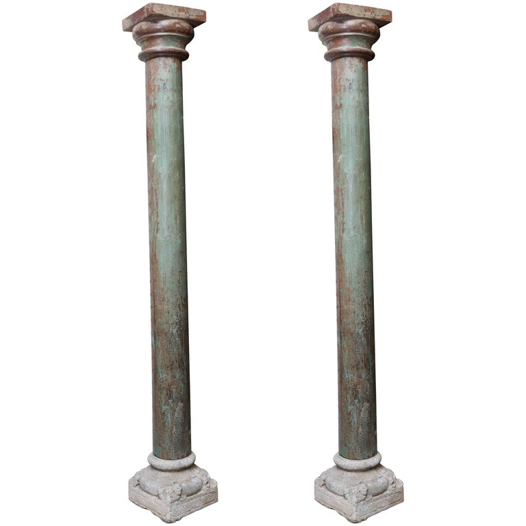Pair of Early 19th Century Solid Teak Wood Load Bearing Columns For Sale