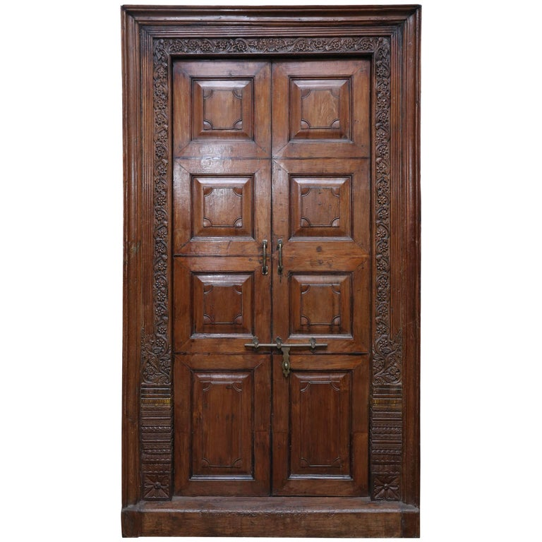Third Quarter of the 19th Century Solid Teak Wood Superbly Crafted Entry Door