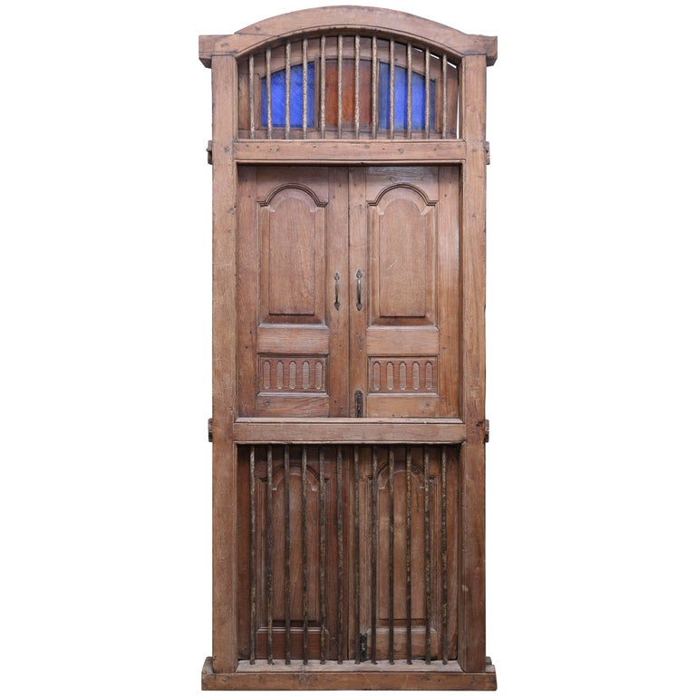 1820s Solid Teak Wood Window from a Portuguese Colonial Cathedral For Sale