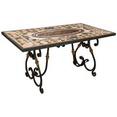Mid-Century Modern Pietra-Dura Black Marble Library Table