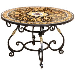 Midcentury Pietra-Dura Round Entry Table from Central India