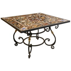 Fine Pietra-Dura Square Black Marble Table with Intricate Inlay Work