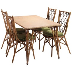 Vintage Five-Piece, Bamboo Outdoor Setting by Audoux Minet, 1950s