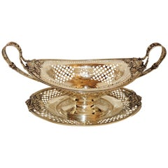 Caldwell Sterling Silver Two-Piece Centerpiece Pierced Handle Bowl & under Tray