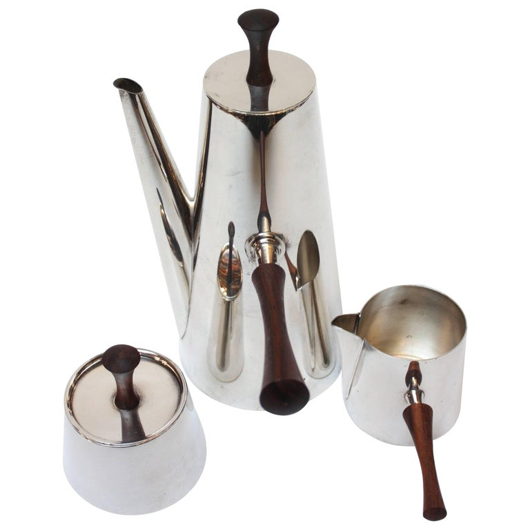 Midcentury Italian Modern Silver Plate and Rosewood Coffee or Tea Set For Sale