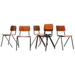 Friso Kramer Inspired Teak and Steel Stacking School Chairs