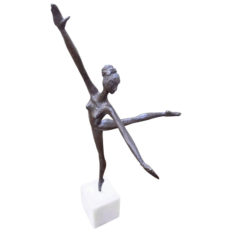 Bronze Ballerina on Marble Base Almuth Lutkenhaus