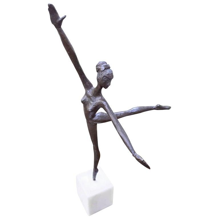 Bronze Ballerina on Marble Base Almuth Lutkenhaus For Sale