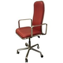 Fred Scott Supporto Task Chair with High Back in Red and Chrome
