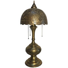 Moorish Revival Brass Syrian Table Lamp