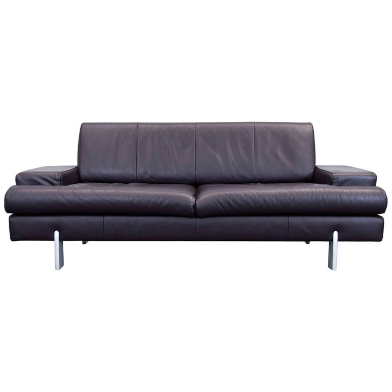 Rolf Benz Designer Leather Sofa Aubergine Lilac Purple Three Seat Couch Modern For
