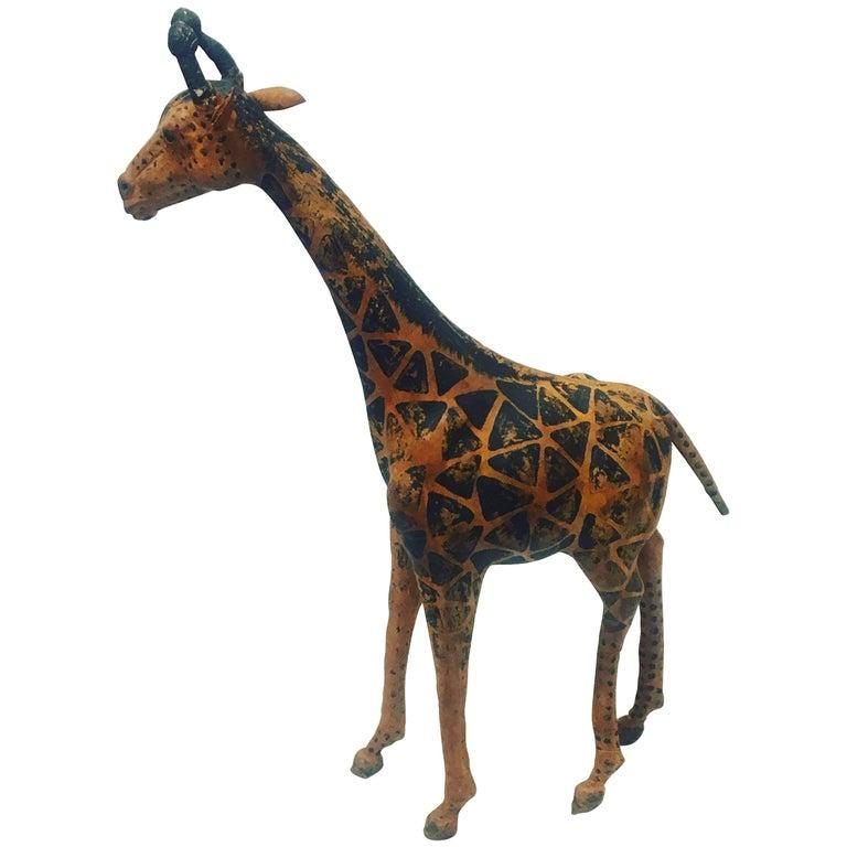 Antique Leather Tall Giraffe Sculpture