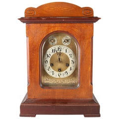 Antique German Bracket Clock by Junghans with Carved Mahogany Case, A07