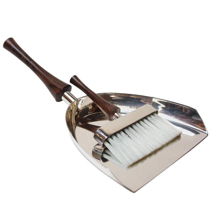 Italian Modern Silver Plate and Rosewood Crumb Brush and Pan