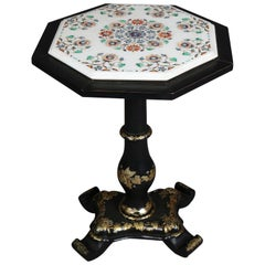 Antique Ebonized Stand with Grape Vine Gilt Motif and Marble Mosaic Inlay