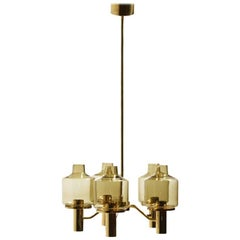 Brass Chandelier with Smoked Glass by Jakobsson in 1960