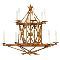 Newly Made Twelve-Light Faux Bamboo Chandelier by David Duncan