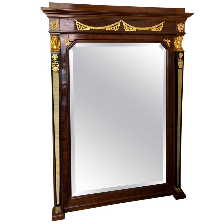Palatial Russian Neoclassical Style Console or Wall Mirror with Bronze Mounts