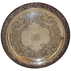 Tiffany Sterling Silver Engraved Round Footed Serving Tray Platter Centrepiece