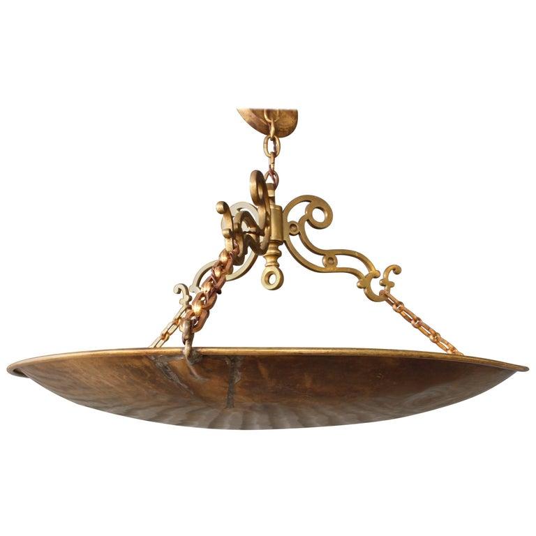 Brass plated pendant light at 1stdibs antique brass pendant light aloadofball Gallery