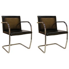 Pair of Black Leather and Chrome Brno Chairs by Mies van der Rohe