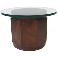Dunbar Walnut and Glass Side Table by Edward Wormley