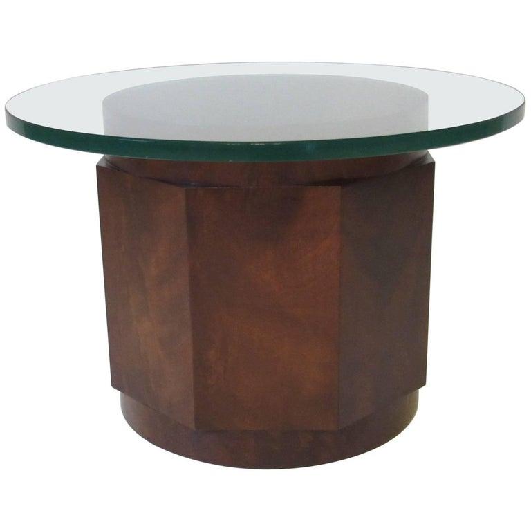 Dunbar Walnut and Glass Side Table by Edward Wormley
