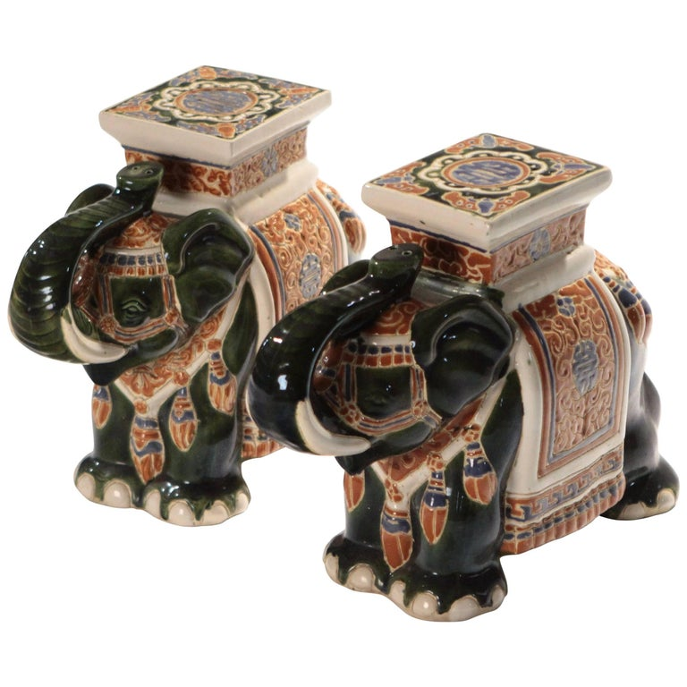 Elephant Garden Stands Stools Vintage Pair Side End Tables