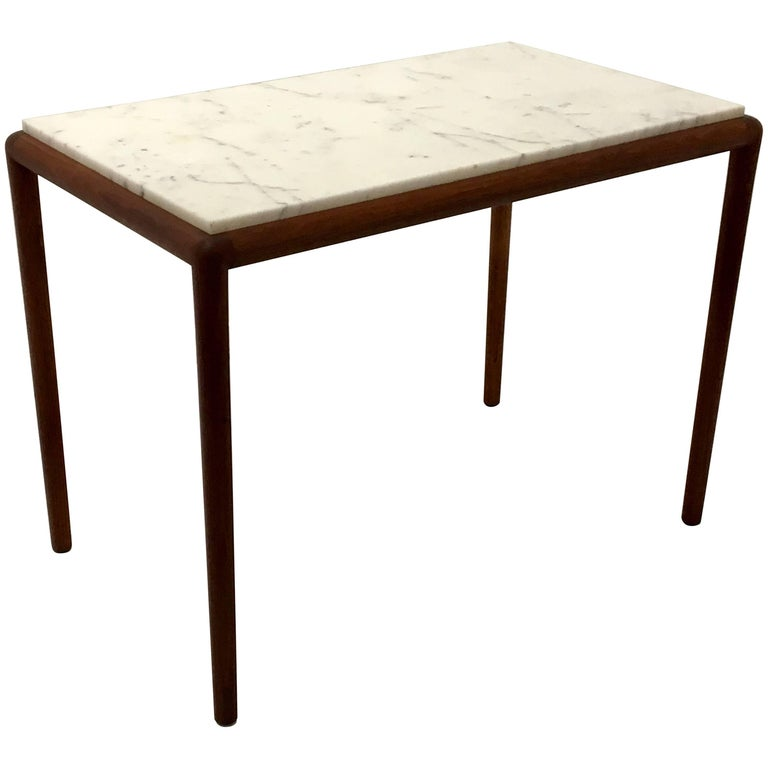 Danish Modern Elegant Teak and Marble Cocktail or End Table