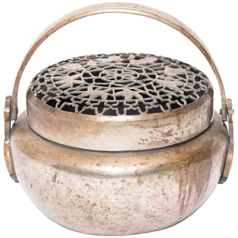 Chinese Brass Brazier with Incised Lotus Bud Lid