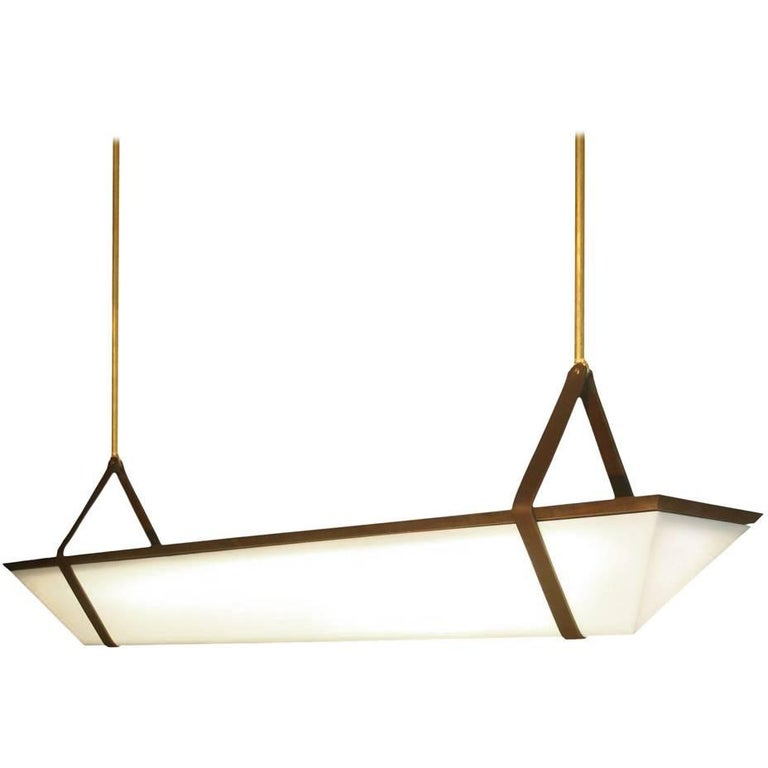 Large American Black Walnut Pendant Light with Brass Fixtures and Leather Straps For Sale