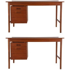 Midcentury Danish Modern Desks in Walnut and Teak by Folke Ohlsson for DUX