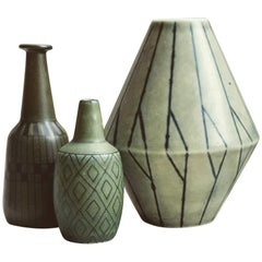 Three Small Vases by Gunnar Nylund and Carl Harry Stalhane