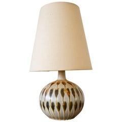 Petite Vintage Ceramic Drip Glaze Table Lamp with Original Shade, circa 1965