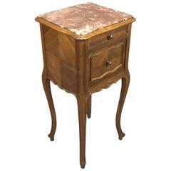 20th Century Walnut Marble-Top Louis XV Bedside Cabinet