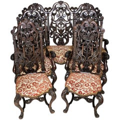 Italian 19th Century Baroque Style Ornately Carved Walnut Five-Piece Salon Suite